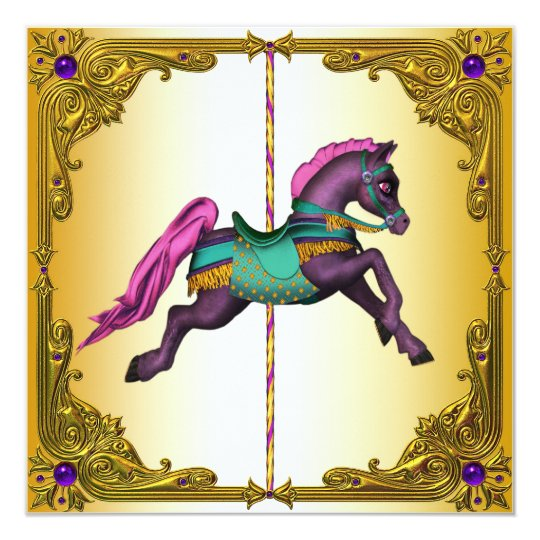 Carousel Horse Purple Pony Birthday Party Card