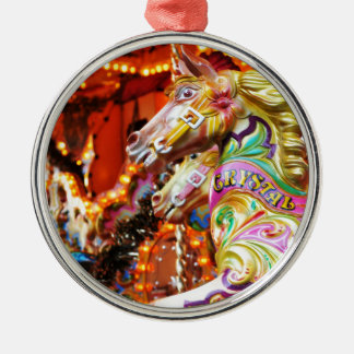 Carousel horse Silver-Colored round decoration