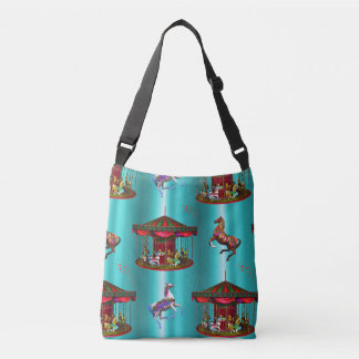 Carousel Horses on Blue Crossbody Bag