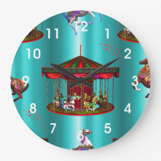 Carousel Horses on Blue Large Clock