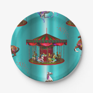 Carousel Horses on Blue Paper Plate