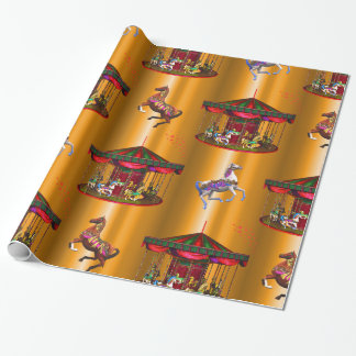 Carousel Horses on Gold Wrapping Paper