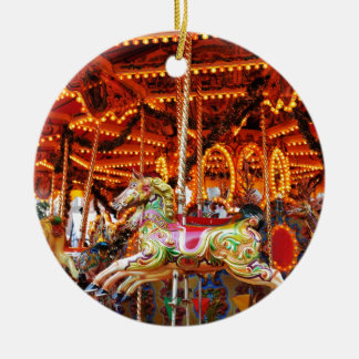 Carousel hose design ceramic ornament