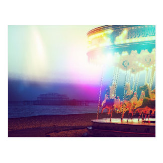 Carousel On The Beach Postcard