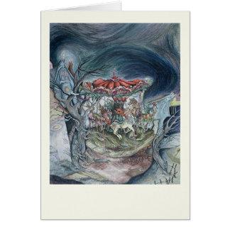 carousel, original art, mysterious, moody card