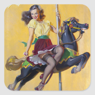 Carousel Pin Up Square Sticker