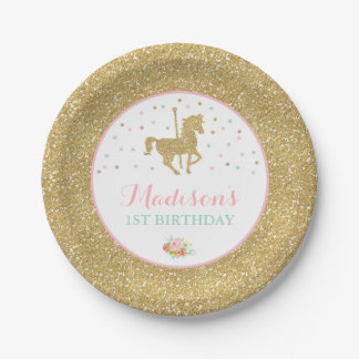 """Carousel Pink And Gold Paper Plate 7"""" Paper Plates"""
