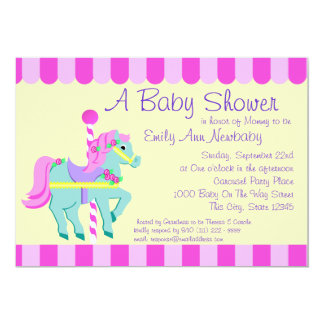 Carousel Pony Baby Shower Card