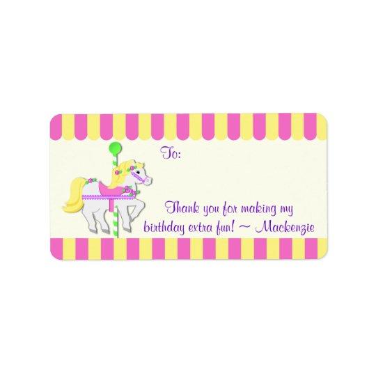 Carousel Pony Birthday Favour Tag Address Label
