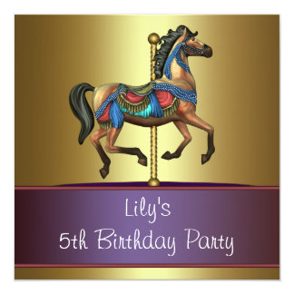 Carousel Pony Girls 5th Birthday Party 13 Cm X 13 Cm Square Invitation Card