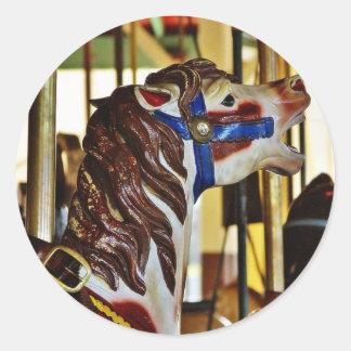 Carousels Horses Rides Amusement Parks Classic Round Sticker