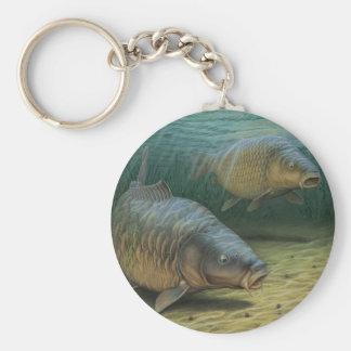 Carp Fishing Two Carp Basic Round Button Key Ring