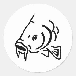Carp head fish classic round sticker