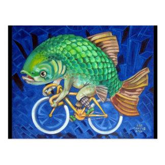 Carp On A Bicycle Postcard