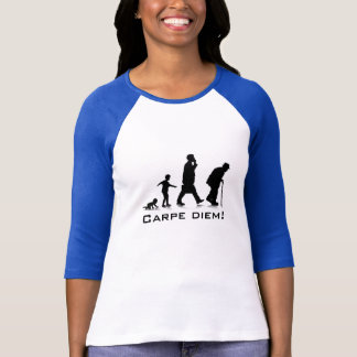 """Carpe Diem!"" Ladies 3/4 Sleeve Raglan Fitted T-Shirt"