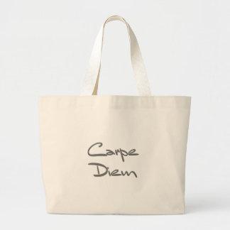 CARPE DIEM Modern Cool Text Large Tote Bag