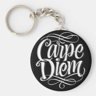 Carpe Diem Motivational Typography Key Ring