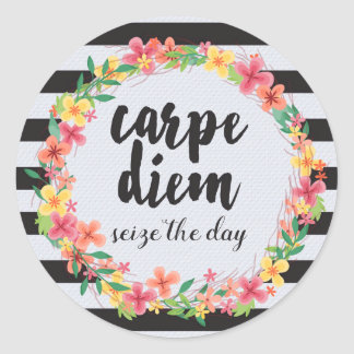 Carpe Diem / Seize The Day Quote Classic Round Sticker