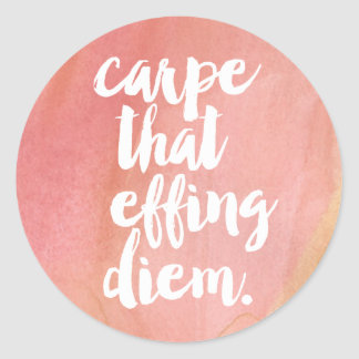 Carpe That Effing Diem Pink Watercolor Quote Classic Round Sticker