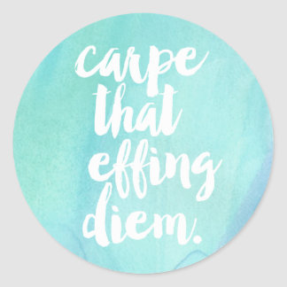 Carpe That Effing Diem Quote Stickers | Aqua