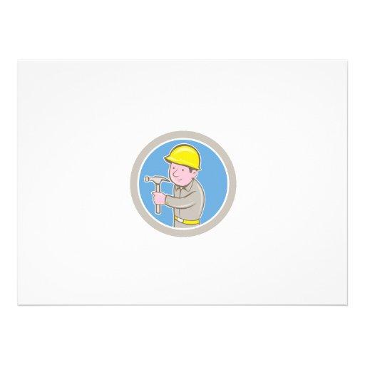 Carpenter Builder Hammer Circle Cartoon Invite