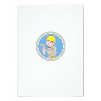 Carpenter Builder Hammer Circle Cartoon Personalised Announcements