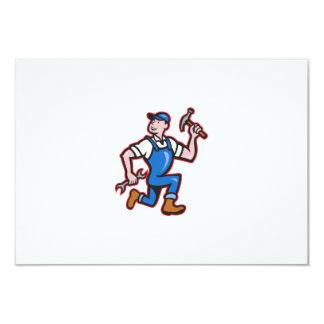 Carpenter Builder Hammer Running Cartoon Personalized Invitations