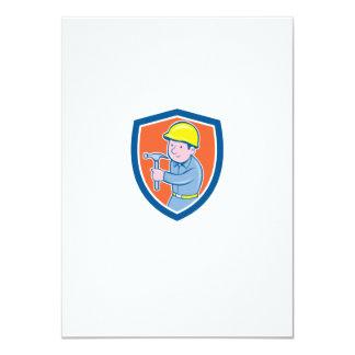 Carpenter Builder Hammer Shield Cartoon Personalised Announcement