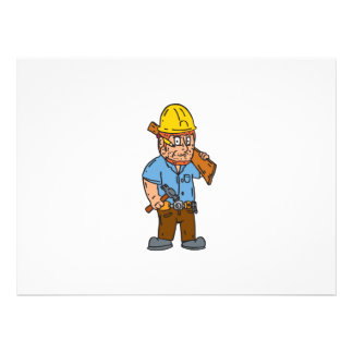 Carpenter Builder Hammer Wood Plank Cartoon Personalised Announcement