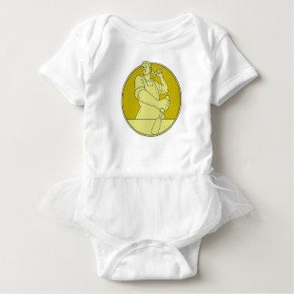 Carpenter Carver Chisel Circle Mono Line Baby Bodysuit