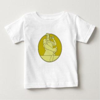Carpenter Carver Chisel Circle Mono Line Baby T-Shirt