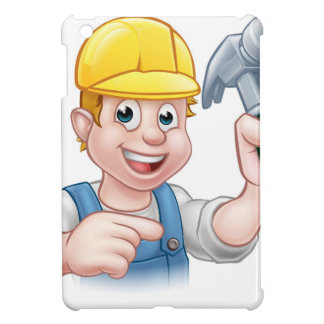 Carpenter Handyman in Hard Hat Holding Hammer Tool iPad Mini Covers