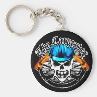 Carpenter Skull and Blue Hard Hat Basic Round Button Key Ring