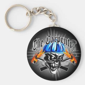 Carpenter Skull with Blue Hard Hat Basic Round Button Key Ring