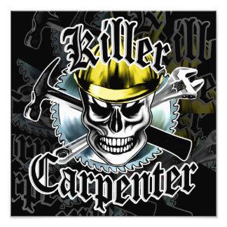 Carpenter Skull with Yellow Hard: Killer Carpenter Photographic Print