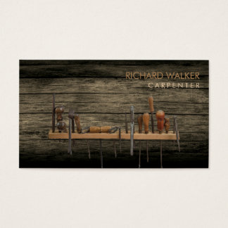 Carpenter Tools  Professional Rustic Wood Business Card