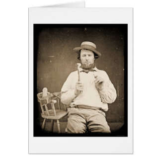 Carpenter with Hammer Daguerreotype 1844 Card