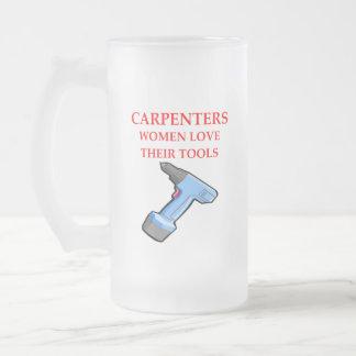 carpentrer frosted glass beer mug