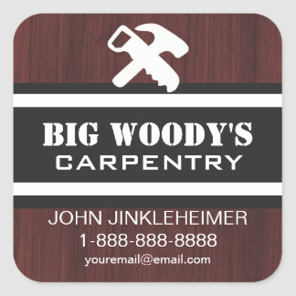 Carpentry Business Contact Square Sticker