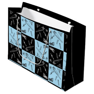 Carpentry Tools in Blue and Black Tiles Large Gift Bag