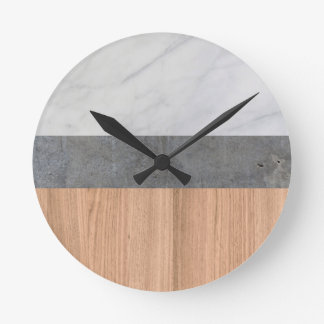 Carrara Marble, Concrete, and Teak Wood Abstract Wall Clocks
