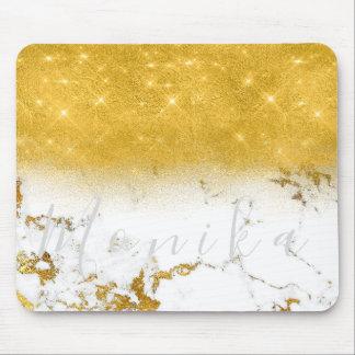Carrara Minimal Name Gold White Gray Marble Mouse Pad