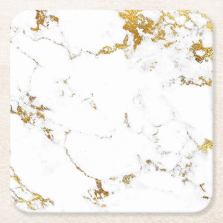 Carrara White Gold Marble Abstract Square Coasters
