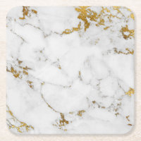 Carrara White Gold Marble Grey  Square Coasters
