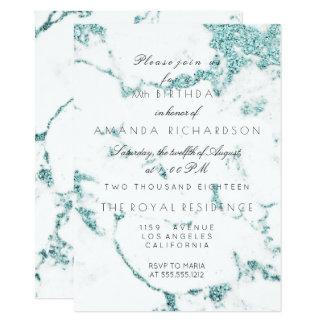 Carrara White Marble Tiffany Aqua Glitter Birthday Card