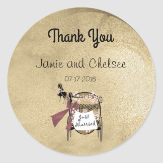 Carriage and Horses Thank You Round Sticker