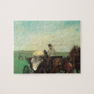 Carriage at the Races by Edgar Degas, Vintage Art Jigsaw Puzzle