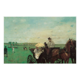 Carriage at the Races by Edgar Degas, Vintage Art Poster
