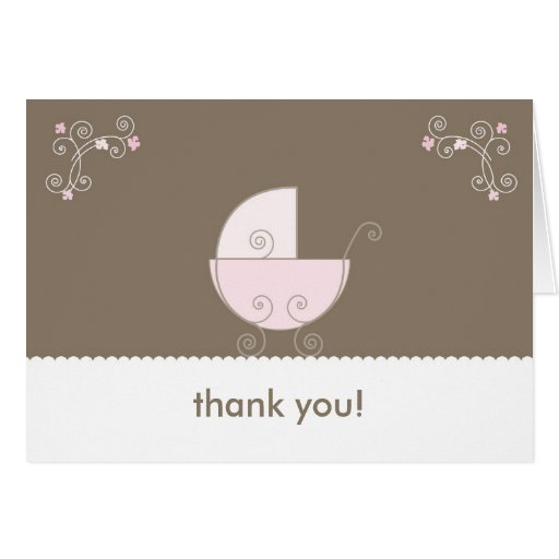 Carriage Baby Shower Thank You - Pink Card