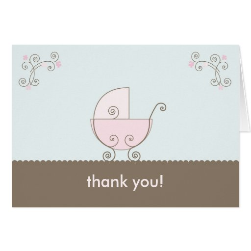 Carriage Baby Shower Thank You - Pink Greeting Card